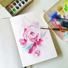 First attempt on florals and I don't know what I'm doing #calligrafikas #watercolor