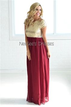 The most beautiful Burgundy and Gold Sequin Dress! Love this for bridesmaids and formal events!