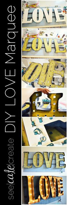 DIY Vintage Light-Up Marquee Love Sign how to create a vintage-inspired light-up marquee with wooden letters and plastic.
