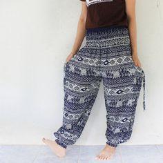 blue elephant print rayon harem pants  size by meatballtheory, $14.00