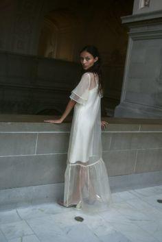 Alternative Wedding Dresses, Wedding Dress Styles, Shift Wedding Dress, Chanel Wedding Dress, Garden Wedding Dresses, Gown Wedding, Lace Wedding, Organza Dress, Silk Organza