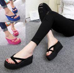 5676110f9a5  7.89 - Womens Flip Flops High Heel Slippers Summer Platform Wedge Sandals  Beach Street  ebay