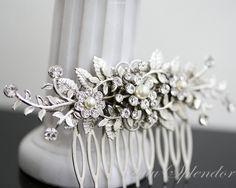 Bridal Comb Vine Leaf hair comb pearl rhinestone Wedding Hair Accessories GENOA DELUXE. $79.00, via Etsy.