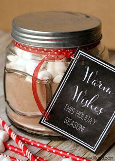Cute and Simple Hot Cocoa Gift Idea with free tags { lilluna.com } AND Homemade Hot Cocoa Recipe