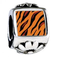 Tiger Skin Photo Flower Charms  Fit pandora,trollbeads,chamilia,biagi,soufeel and any customized bracelet/necklaces. #Jewelry #Fashion #Silver# handcraft #DIY #Accessory