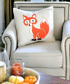 Fall has arrived! Fox Pillow in my favorite color of the season orange!