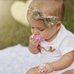 Glittery Bow Headband Gold Headband Birthday Cake Smash 1st Birthday... ($15) ❤ liked on Polyvore featuring accessories, hair accessories, baby, kids, aqua, headbands & turbans, wide headbands, elastic headbands, bow hairband and headband turban