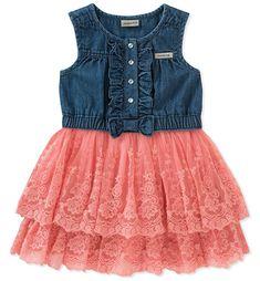 Calvin Klein Denim Tulle Dress, Little Girls - Denim/Pink 5 Toddler Girl Dresses, Little Girl Dresses, Girls Dresses, Baby Dresses, Denim And Lace, Baby Girls, Toddler Girls, Infant Toddler, Frock Design