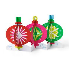 Tabletop Ornaments Holiday Cards - Set of 8 in color Pop Up Christmas Cards, Pop Up Cards, Retro Christmas, Holiday Cards, 3d Cards, Birthday Greeting Cards, Holiday Ornaments, Tabletop, Moma