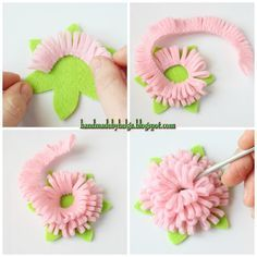 Handmade by Helga: Felt brooch in shape of a peony (tutorial) . - Handmade by Helga: Felt brooch in shape of a peony (tutorial) - ? Handmade Flowers, Diy Flowers, Fabric Flowers, Paper Flowers, Crochet Flowers, Ribbon Flower, Felt Diy, Felt Crafts, Fabric Crafts