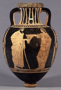 Pottery: red-figured storage-jar (pointed amphora) with a woman holding out a basket to a bearded man leaning on a staff. Etruscan 400BC-360BC.  © The Trustees of the British Museum