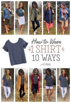 How to wear 1 striped shirt 10 different ways! - How to wear 1 striped shirt 10 different ways! How to wear 1 striped shirt 10 different ways! Outfits With Striped Shirts, Chambray Shirt Outfits, How To Wear Shirt, How To Wear Leggings, What To Wear, Look Fashion, Fashion Outfits, Hipster Fashion, Latest Fashion