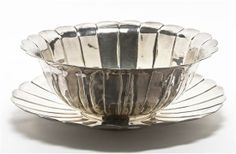 A Chinese Silver-Plate Punch Bowl and Tray