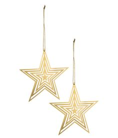 Check this out! Flat, star-shaped Christmas ornaments in metal with a glittery cord at one end. Size 4 1/2 x 4 1/2 in. - Visit hm.com to see more.