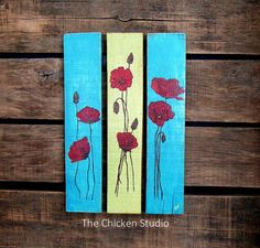 In Stock: Poppy Painting, Flower painting, Original Painting, Poppies, Home Decor, Reclaimed wood art, Garden Art, Pallet Art, Gifts for her