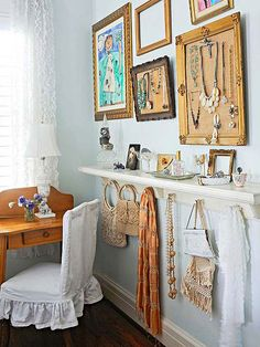 Vintage Accessorizing - Vintage jewelry, purses, perfume bottles, and scarves work to dress up this once plain bedroom wall. To make more of a statement, find old picture frames and use cork and burlap to make a pin board that displays jewelry, whether it's the pieces you wear every day or inherited pieces you want to display.