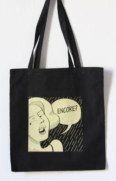 Women Black Handprinted Tote Bag. Illustrated bag. by TacaMaca, $13.89