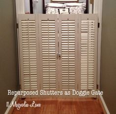 dog gate from vintage plantation shutters, repurposing upcycling, The finished projectDog Gate From Vintage Plantation Shutters I repurposed an old pair of window shutters (found on the side of the road on trash day) as a doggie gate, to keep my pets safely corralled.