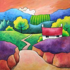 Gillian Mowbray Puts me in mind of Clarice Cliff designs Arte Pop, Naive Art, Illustrations, Whimsical Art, Landscape Art, Online Art Gallery, Art Images, Art Lessons, Watercolor Art