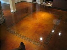 Dye And Seal Concrete, Stained Concrete, Brown Stained Concrete Floor Concrete Floors The Design Center Franklin, TN Diy Concrete Stain, Concrete Basement Floors, Painting Basement Floors, Basement Flooring Options, Painted Concrete Floors, Painting Concrete, Stamped Concrete, Basement Ideas, Concrete Resurfacing