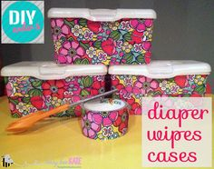 An easy DIY update to those boring diaper wipes containers. And if you don't have a use for wipes these would be great for storage of school supplies, crayons, legos, and small kitchen utensils! Baby Wipe Box, Baby Wipe Holder, Wipes Box, Diaper Wipe Case, Wipes Case, Reuse Containers, Baby Wipes Container, Marker Storage, Wet Wipe