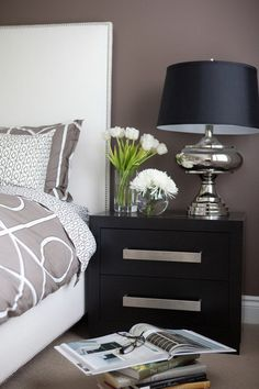 Brown Wall Color Scheme and Elegant Bedside Table in Contemporary Bedroom Design Ideas Secrets for Successful Bedroom Design Ideas
