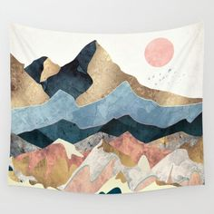 Nordic Pink Mountain Tapestry Macrame Wall Hanging Abstract Hippie Boho Women Wall Carpet Cloth Psychedelic Tapestry World Map Room Tapestry, Tapestry Wall Hanging, Wall Hangings, Cool Tapestries, Tapestry Ceiling, Tapestry Headboard, Tapestry Nature, Tapestry Design, Chic Retro