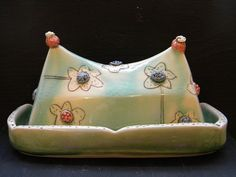 Aqua butterdish with flowers by jenmecca on Etsy, $91.00