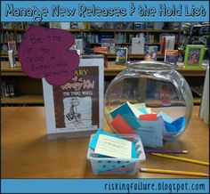 Tools for keeping track of new release books, printable forms for hold slips and notification forms, and printable shelf signs alerting students to popular titles.