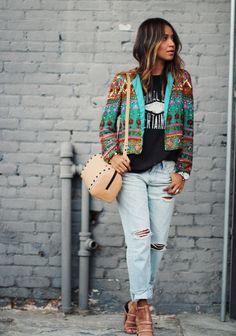 Jacket: Vintage Bag: Loeffler Randall Jeans: AG Adriano Goldschmied Tee: Maje Heels: Alexander Wang Watch: Tsovet