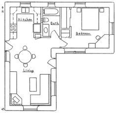 Contemporary Cottage House Plans - Tiny L-shaped House Floor Plans The Plan, How To Plan, Small House Floor Plans, House Plans One Story, Small House Plans Under 1000 Sq Ft, Story House, L Shaped House Plans, L Shaped Tiny House, Flat Plan
