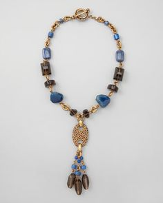 Blue Agate & Smoky Quartz Y-Drop Necklace by Stephen Dweck at Neiman Marcus.