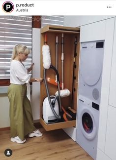 Today we are focusing on space saving tips and ideas for your own home. How are you loving this space saving built in for a laundry room? Iron Storage, Vacuum Storage, Small Storage, Small Space Living, Small Spaces, Dream Home Design, House Design, European Laundry, Cleaning Cupboard