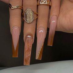 Acrylic Nails Coffin Pink, Long Square Acrylic Nails, Simple Acrylic Nails, Summer Acrylic Nails, Long Square Nails, Gold Nails, Pink Nails, Drip Nails, Exotic Nails