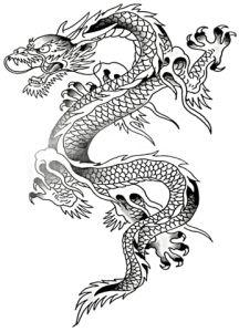 Grey Ink Chinese Dragon Tattoo Design
