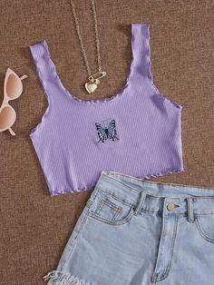 Girls Fashion Clothes, Teen Fashion Outfits, Cute Fashion, Trendy Summer Outfits, Cute Casual Outfits, Stylish Outfits, Lila Outfits, Retro Outfits, Mode Kawaii