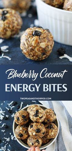 Make Blueberry Coconut Energy Bites in just 10 minutes! Kids and adults will love these easy no-bake energy balls with the perfect sweet kick from dried blueberries and coconut. Satisfy your cravings with a healthy and hearty meal you can have on the go! Diet Desserts, Diet Snacks, Healthy Snacks, Healthy Recipes, Healthy Cookies, Simple Recipes, Healthy Kids, Healthy Desserts, Sweet Recipes