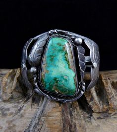 40g Vintage Fred Harvey Era Navajo Sterling Silver Cuff Bracelet w Magnificent Royston Turquoise! Beautiful Old Cuff! Phenomenal Stone!