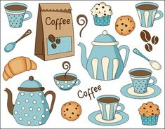 Coffee Time Digital Clip Art Set – Pot, Cup, Cookies, Cupcake How cute is this for a Mother's Day project? This new seller has adorable clipart! Printable Stickers, Planner Stickers, Coffee Clipart, Mother's Day Projects, Clip Art, Illustration, Elements Of Art, Coffee Time, Doodle Art