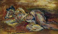 Joseph Delaney - Reclining Nude, Oil on board