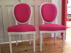 chaises louis XVI velours rose