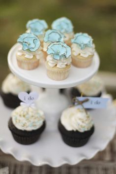 Vintage wedding party cupcakes! See more party planning ideas at CatchMyParty.com!
