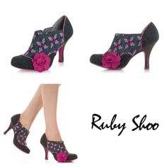 Ruby Shoo Reese Floral High Heel Shoe Boots New in box. Never worn. Retail $70. Stand out in the crowd with these Reese shoe boots by Ruby Shoo. The grey abstract floral print upper features grey tweed panels at the heel and toe with a subtle pink polka dot pattern decorating the tweed. Ruby Shoo Reese shoes also have a matching pink rubber sole and cute pink polka dot trim around the edges of the tweed. The round toe, side fabric flower and brown wood effect heel give the shoes a stylish…