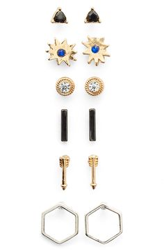 Six pairs of sparkling earrings in a variety of fun shapes and styles allows for easy mixing and matching to achieve a custom look.