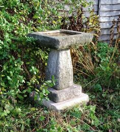 Charming Square Cast Stone Birdbath 25.5H x 16 x 16