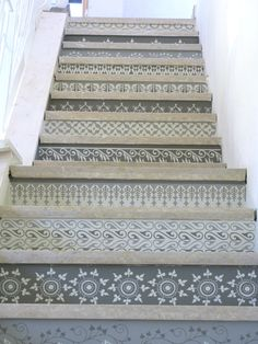 Grey stenciled staircase