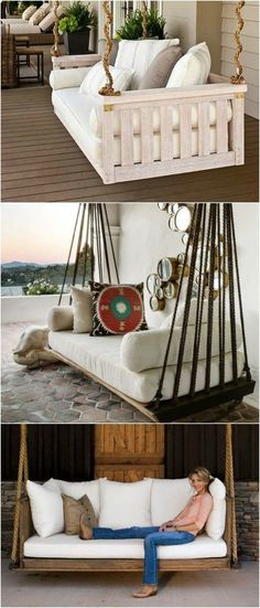 Build a suspended bed yourself: 44 DIY ideas for bed of pallets in the garden - Anne Hepp - - Hängebett selber bauen: 44 DIY Ideen für Bett aus Paletten im Garten Hanging bed on the balcony - Wooden Pallet Furniture, Diy Outdoor Furniture, Diy Furniture, Furniture Plans, Garden Furniture, Pallet Chairs, Palette Patio Furniture, Furniture Projects, Wood Pallets