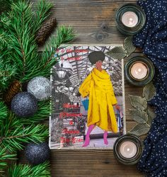 80's style christmas cards. Limited Edition. - Fashion illustration - Silver glitter border -Handcrafted