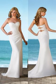 Beautiful form fitting sheath strapless wedding dress with sweetheart neckline