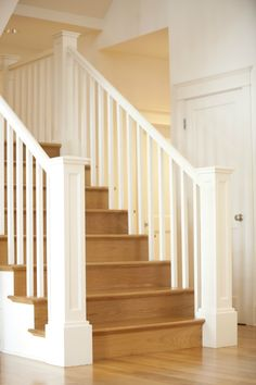 Nice white staircase - probably carpeted though, definetly white White Banister, White Staircase, Banisters, Wood Flooring, Dream Rooms, Staircases, Idaho, Home Remodeling, Craftsman